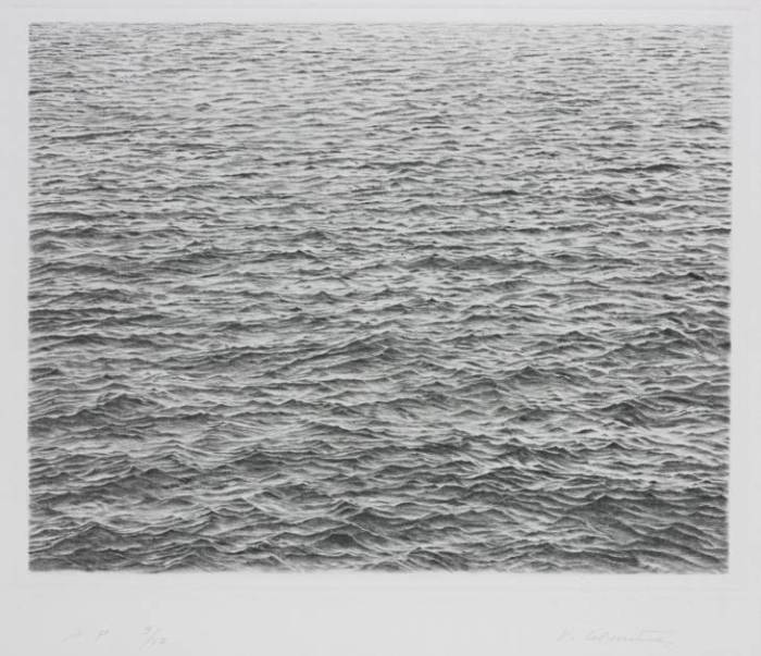 Drypoint - Ocean Surface 1983 by Vija Celmins born 1938