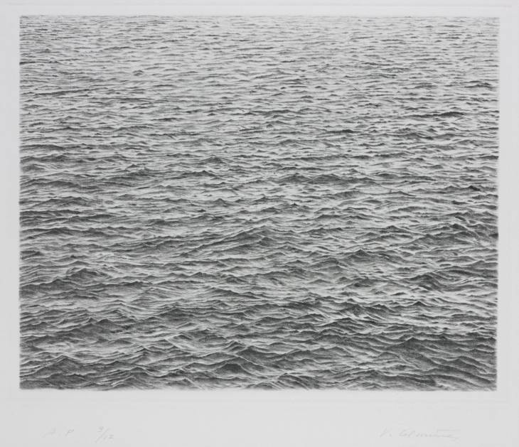 Drypoint - Ocean Surface 1983 by Vija Celmins born 1938