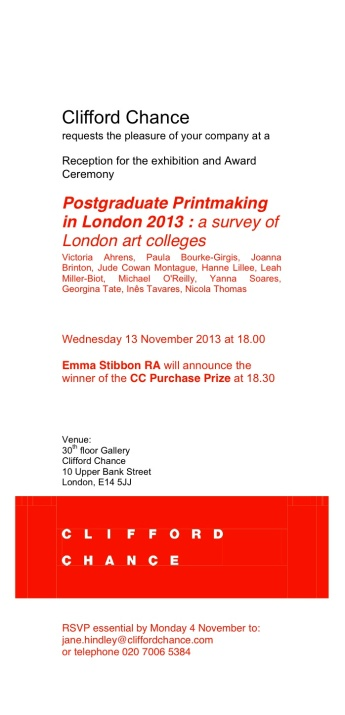 CC Postgraduate Printmaking invitation 2013 2